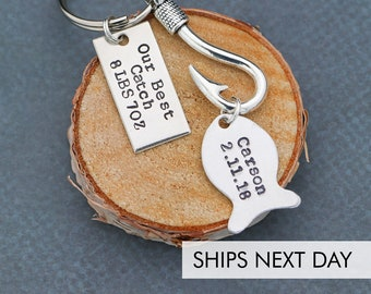 Our Best Catch Keychain O Personalized New Dad Gift Fishing Father Day Husband Custom Baby Name Birth Date QQQ