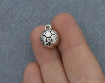 5 Pack Soccer Ball Charm 3D Silver Jewelry Soccer Pendant - Pack of 5 Charms