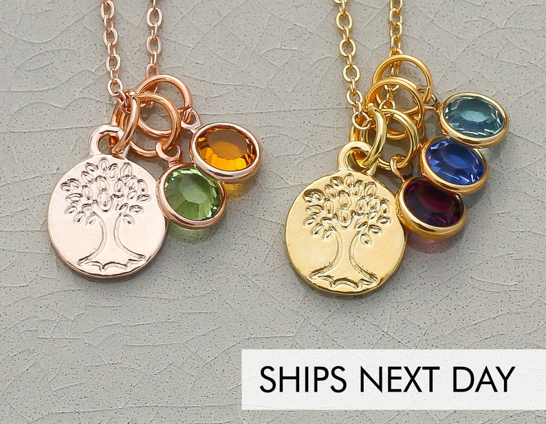 Rose Gold Tree of Life Birthstone Necklace  Family Tree Gift image 0