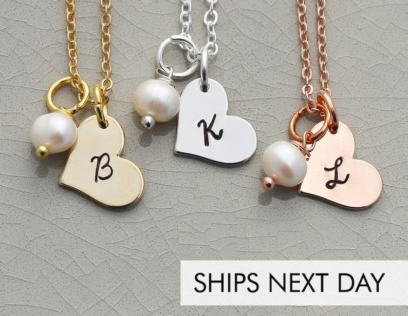Tiny Heart Necklace Personalized Initial Bridesmaid Gift  image 0
