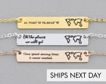 World Map Bar Necklace Travel Gift • Explore Necklace Vacation Personalized Bar Necklace•World Necklace Map Jewelry Travel Bar Vacation Gift
