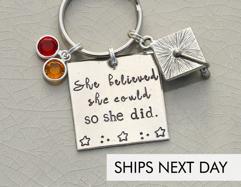 She Believed She Could So She Did Keychain  Graduation Gift image 0