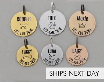 Pet ID Tag • Custom Pet Identification Tag Pet Personalized Cat Tag • Dog Pet Name New Puppy Gift • Silver Tag Copper Name Phone Number