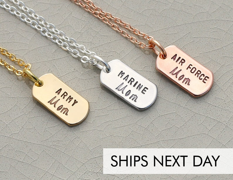 Military Mom Dog Tag Necklace \u2022 Army Gift Navy Jewelry Air Force Necklace \u2022 Dainty Military Mom Jewelry \u2022 Proud Military Mom Necklace