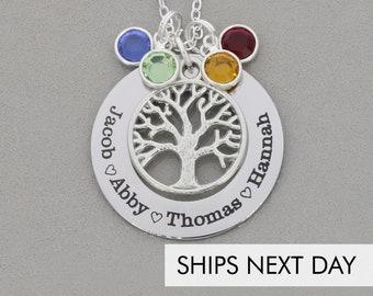 Birthstone Tree Necklace • Swarovski Crystal Necklace Family Gift Mom Necklace • Name Family Tree Gift Grandma Necklace Mother Tree of Life