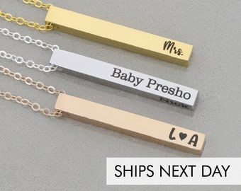 Pillar Bar Post Necklace Four Sided Bar • Vertical Post Pendant Personalized Engraved Bar Charm•4 Sided Minimalist Name Jewelry•Family Names