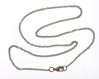 """BULK 10 Brass Cable Chain Necklace for Jewelry Making - Bronze Cable Link Chain 14"""" 16"""" 18"""" 20"""" 24"""" 30"""" - PACK of 10 Chains"""