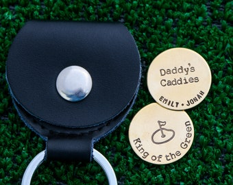 Handstamped Golf Ball Markers • Grandpa Present Dad Golf Ball Placers • Personalized Golfer Daddy's Caddies Phrase Golf Markers • Dad Gift