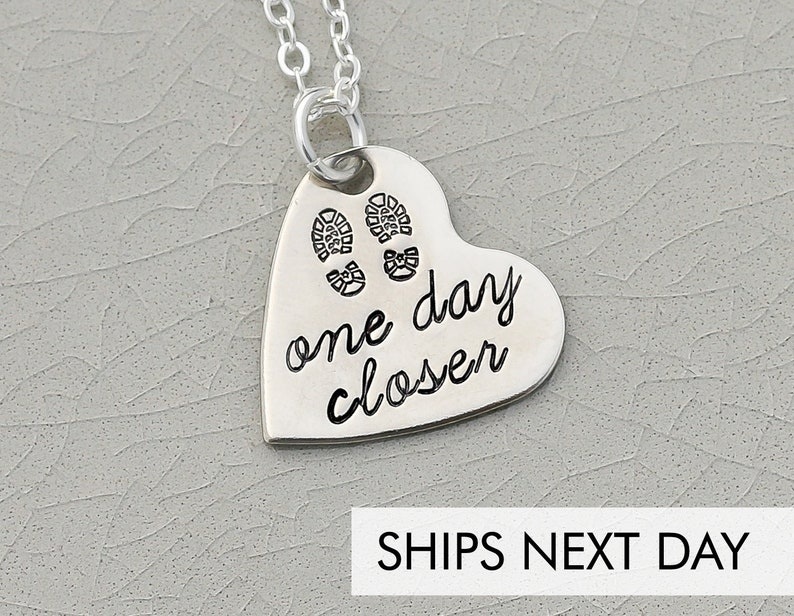 One Day Closer Deployment Necklace  Long Distance Wife Gift  image 0