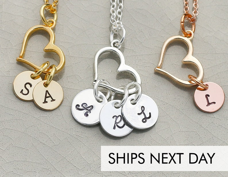 Open Heart Initial Handstamped Necklace  Rose Gold Heart image 0