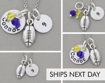 Football Mom Gift • Football Jewelry Fan Football Gift Ideas • Football Team Colors • Personalized Football Player Football Charm Mom Sports