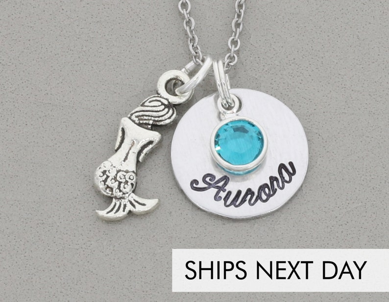 Mermaid Necklace Girls  Personalized Mermaid Gift  Silver image 0