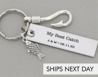 My Best Catch Keychain • Fishing Gift Fish Hook Charm Boyfriend Christmas Gift Husband Anniversary Present•Dating Gift Best Catch