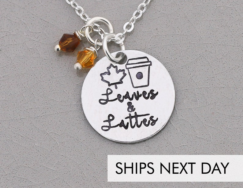 Coffee Lover Gift Latte Barista Jewelry  Fall Autumn Leaves image 0