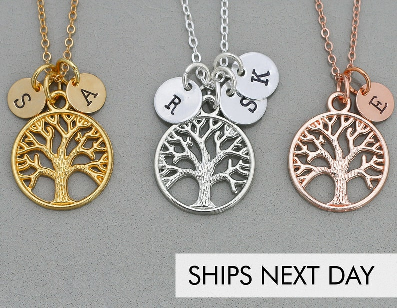 Personalized Family Tree of Life Necklace Grandma Gift  Child image 0