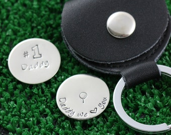 Custom Ball Markers • Father's Day Present Dad Golf Ball Placers • Personalized Golfer Handstamped Golf Markers •Grandpa Gift Dad Golf Lover
