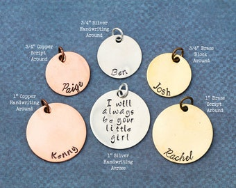 Silver Stamping Blank Disc • 3/4 or 1 inch Disc Add-On to Handstamped Necklace • Personalized Disc Copper Brass Disc Round Charm Inch Custom