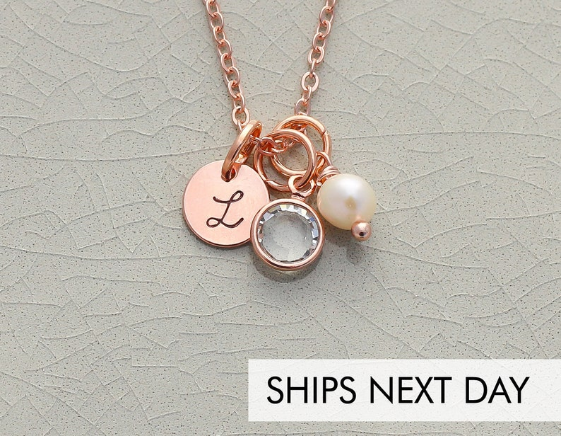 Rose Gold Bridesmaid Necklace Initial Bridesmaid Gift  Tiny image 0