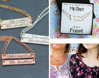 Mother Daughter Necklace Set • Gift Mom Daughter Bar Necklace Like Mother Like Daughter Jewelry Set • Mom Bar Necklace Mother