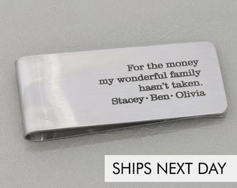 Engraved Money Clip Dad Gift • Personalized Custom Father's Day Gift • Dad Quote Grandpa Present Custom Phrase New Dad Birthday Gift