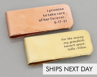 Personalized Money Clip Brass Engraved Dad Gift • Father's Day Present Family Gift Father of the Bride Wedding Present • Gift Kids