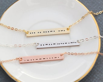 Morse Code Necklace • Silver Morse Code Bar • Bridesmaid Gift Rose Gold Morse Bar Necklace • Romantic Gift Secret Message Morse • QQQ