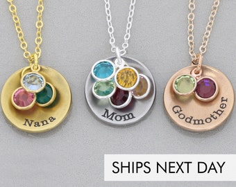 Mom Necklace Grandma Gift • Personalized Godmother Jewelry • Birthstone Necklace Grandmother Gift Nana Birthstone Month • Mothers Gift
