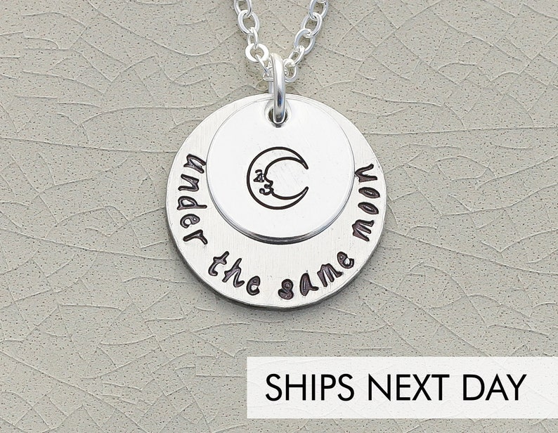 Under The Same Moon Necklace  Handstamped Quote Long Distance image 0