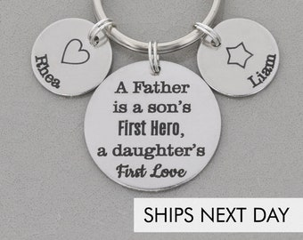Son's First Hero Daughter's First Love • New Dad Gift Keychain Dad Keepsake •Stepdad Phrase Papa Gift Father Birthday Dad Quote Custom