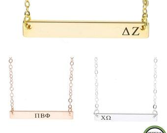 Sorority Gift • Big Sister Necklace • Rose Gold Sorority Necklace • Little Sister Personalized Sorority • Engraved Greek Letter