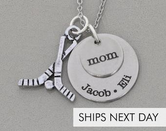 Hockey Mom Gift • Sports Personalized Hockey Necklace • Mom Sports Jewelry • Roller Hockey Team Sports • Ice Hockey NHL Sports Fan Gift