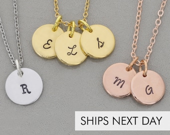 Dainty Initial Necklace Handstamped Initial Jewelry Mom Gift Letter Necklace Women Gift Personalized Necklace Personalized Initial