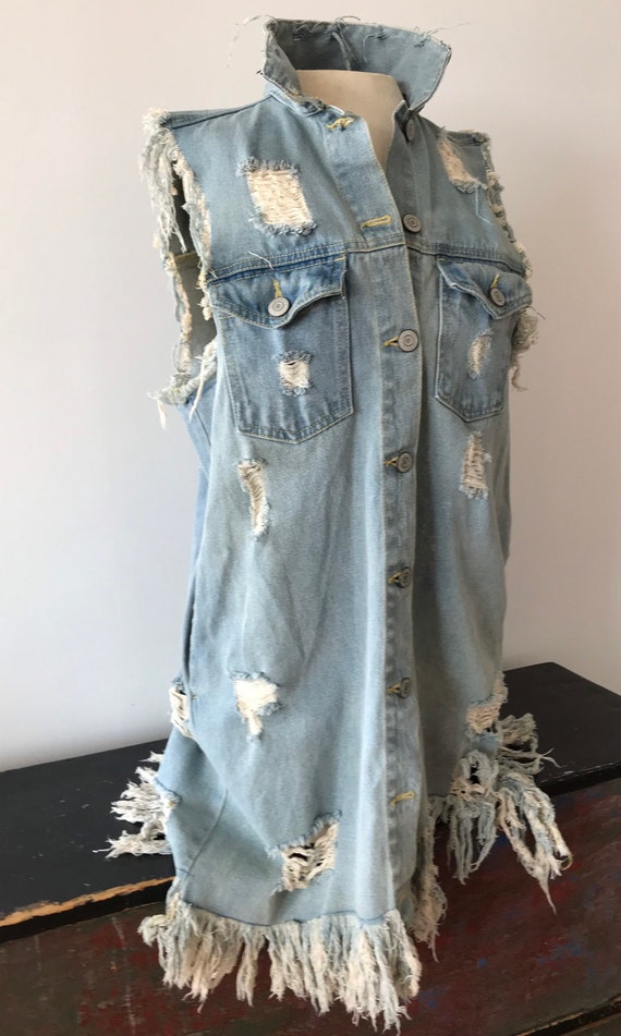 Distressed Long Denim Vest
