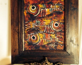 """Colorful Abstract Painting """" Three Fish,"""" on Canvas c1970s Signed Estrella"""