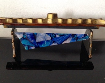 Brutalist mixed metal with fused glass  Menorah