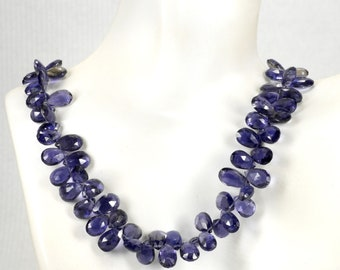 Natural Iolite Faceted Heart Beads Wholesale Beads Purple Heart AAA Iolite Beads Faceted Heart Beads Purple Briolette Briolette Beads