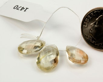 Oregon Sunstone Trio,  Focal Bead, Matched Pair, Pear Shaped, Faceted - Focal 13 x 8mm - Pair 11 x 9mm