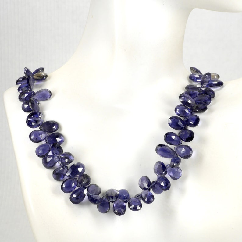 """Details about  /Natural Gem Iolite 8x5 to 9x6mm Pear Shape Briolette Beads 9/"""" Water Sapphire"""