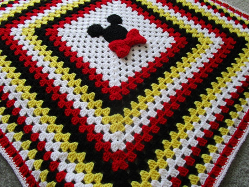 Mickey And Minnie Mouse Crochet Throw Blanket Crochet Pillow Etsy