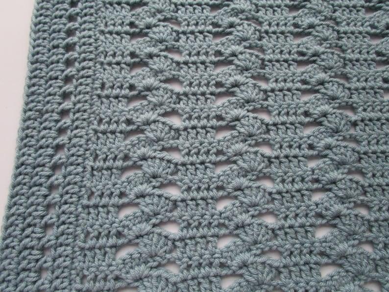 Interlocking Shell Stitch Crochet Blanket Pattern Easy Etsy