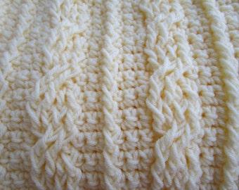 Chunky CROCHET CABLES Blanket,  Crochet baby Blanket Pattern, Crochet Throw Blanket, Crochet Afghan Pattern