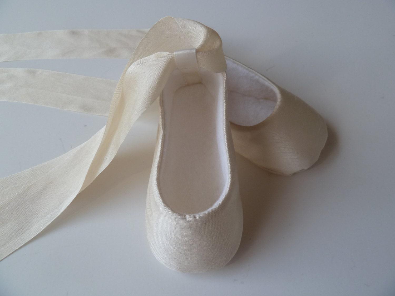 5e29116f4470 Christening Shoes . Ivory SILK Infant Ballet Slippers .