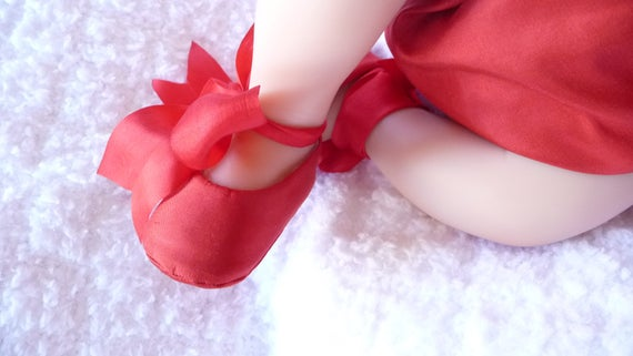 80a45bfc51dbd Baby Girl Shoes . Red SILK Ballet Slippers . Baby Ballerina Shoes . Shower  Gift