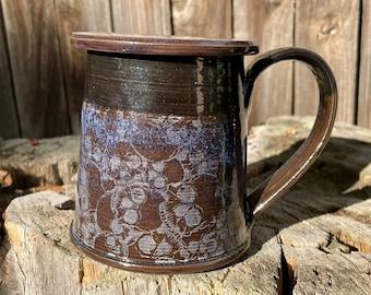 Large Blue Skull lidded mug | Skull white crackle | Skull design | Deep Blue WhiteSkull | Pottery handmade | HandmadeMug | Personalized Gift