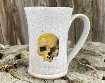 Skull Mug | White Glazed with Skulls | Coffee Mug | Popular Mug | Gift