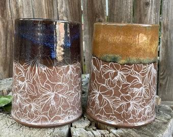 Handmade Ceramic Large-kitchen-Utensil-Holder or Wine Chiller or Vase | Large Utensil Holder | Handmade Utensil Holder | Vase | Magnolias