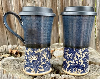 Large Travel Mug | Deep Blue and Lace | To-Go Mug | Silicone Lids | Travel Mug with Lace | Coffee and Tea Mug | Unique Travel Mug | DeepBlue
