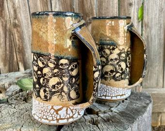 Pocket Skull mug | hand-warming mug | Skull Pattern with stoneware | Skulls Handmade Mug | Stoneware Skull Mug | Stoneware Hand-warming Mug