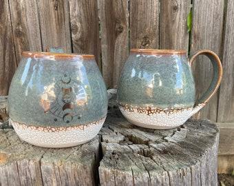 Large Gold Sun Moon Mug | Porcelain mug | Iron glazed w white crackle | Housewarminggift | Rustichomedecor | PersonalizedGift | Handmademug