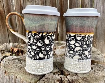 Large Porcelain Skull Travel mug | Skull and white crackle | Skull design | Porcelain | Pottery handmade | Handmade Mug | Personalized Gift